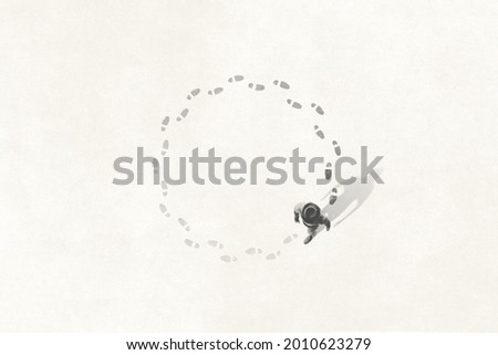 Illustration of man following his footsteps in circle; life concept Foto stock ©