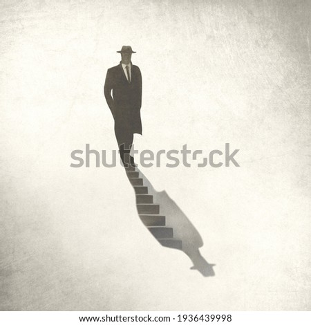illustration of man getting down into his shadow, surreal concept Сток-фото ©