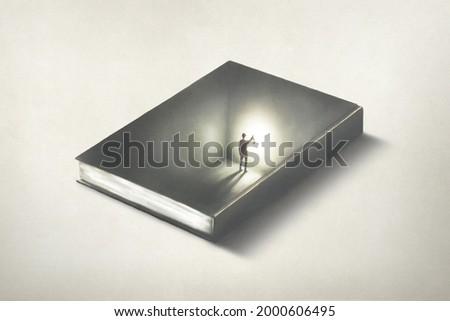 Illustration of man inside a book, surreal optical illusion educational concept