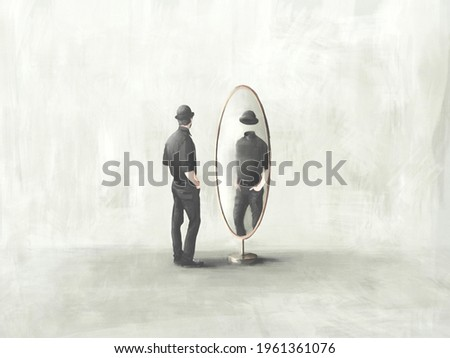 illustration of  man looking at himself headless reflected in the mirror, surreal identity concept