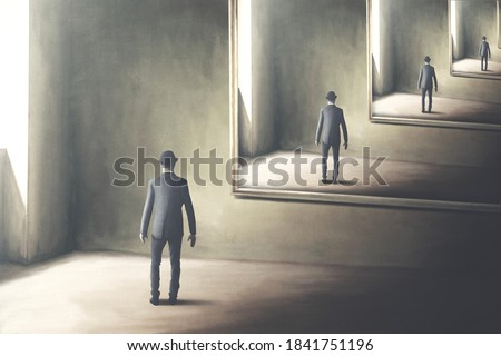 illustration of man reflecting himself in the mirror, loop surreal concept ストックフォト ©