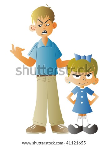 Illustration of man scolding a small child