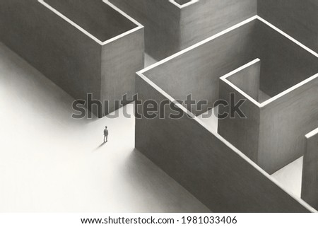 illustration of man solving a big complex maze, abstract concept