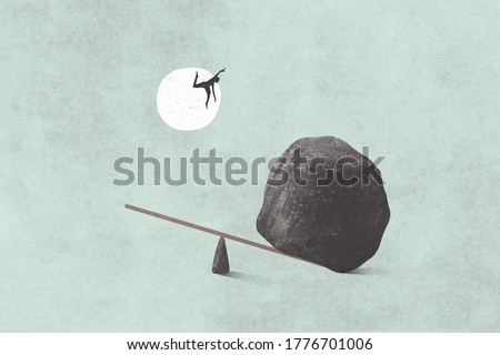 illustration of man trying to fly, surreal concept