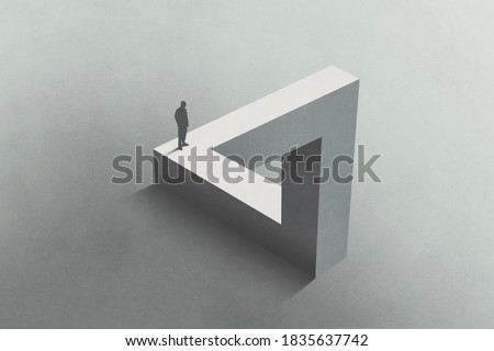 Illustration of man walking on Penrose triangle, surreal concept