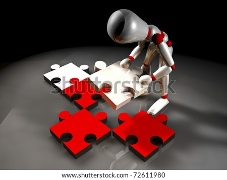 illustration of mannequin of white color placing a puzzle piece
