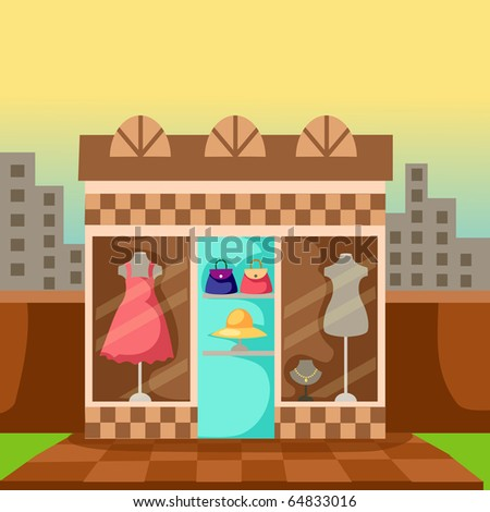 illustration of  mannequin with dress in display shop - stock photo