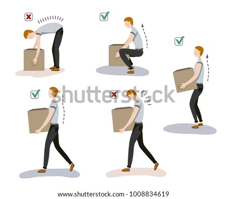 Illustration of manual handling of loads. A worker lifts up a heavy load in safe and unsafe way for his back.