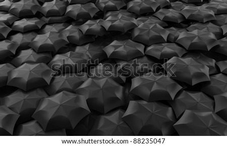 Illustration of many dark umbrellas collected in one place