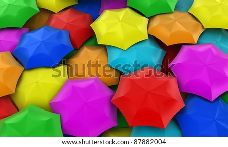 Illustration of many multicolored umbrellas collected in one place