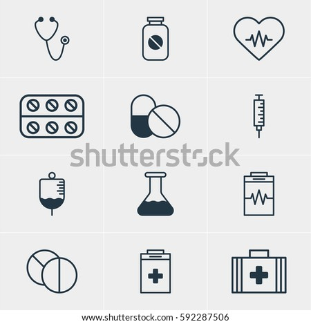 Illustration Of 12 Medical Icons. Editable Pack Of Antibody, Medical Bag, Round Tablet And Other Elements.