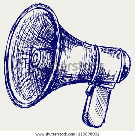 Illustration of megaphone. Doodle style