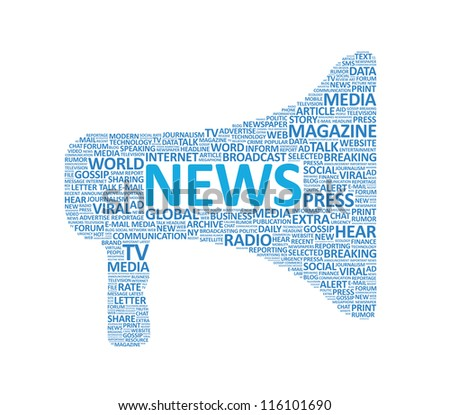 Illustration of megaphone symbol made up of various news words. Isolated on white.