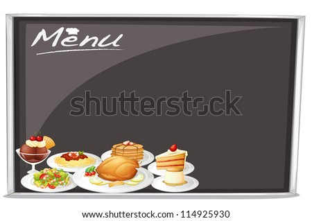 illustration of menu on black board on a white background