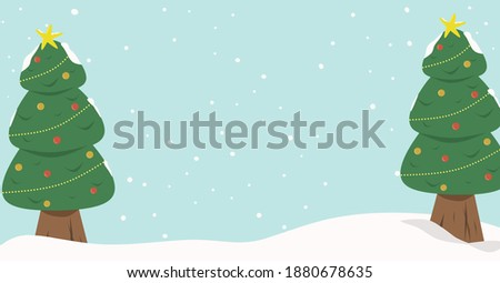 illustration of merry christmas trees with snow wallpaper or postcard  or greetings