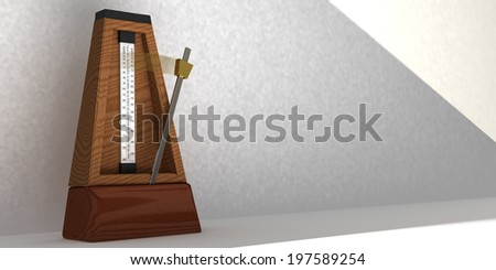 Illustration of metronome with pendulum in motion