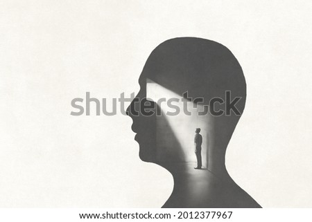 illustration of mind prison surreal abstract concept
