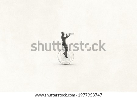 illustration of minimal retro business man riding an old bike observing the future with binoculars