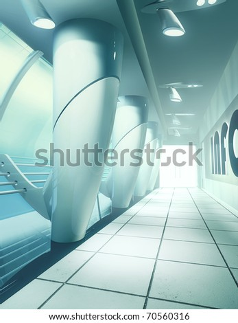 illustration of modern airport toned cool colors