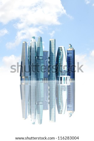 Illustration of modern and futuristic architectural city background