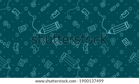 Illustration of modern Jewish writings with a Magen David print and pencils, sheets of paper and envelopes for traditional and electronic correspondence on a green background Foto stock ©