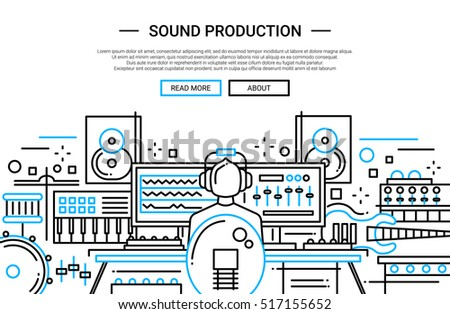 Illustration of modern simple line flat design website banner, header with a sound producer at work among different music equipment