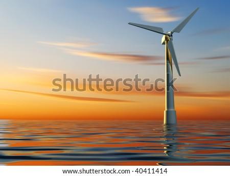 Illustration of modern wind turbine on sea - 3d render