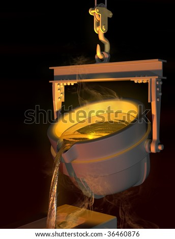 Illustration of molten metal being poured from a foundry crucible
