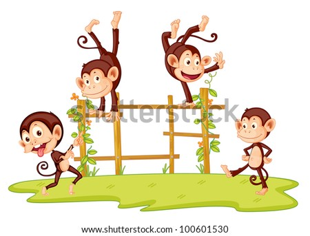 Illustration of monkeys playing on fence - EPS VECTOR format also available in my portfolio.