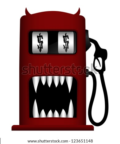 Illustration of monster gas pump, isolated on white background