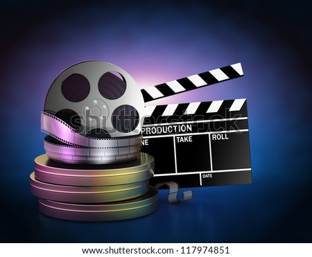 Illustration of movie film reels and cinema clapper