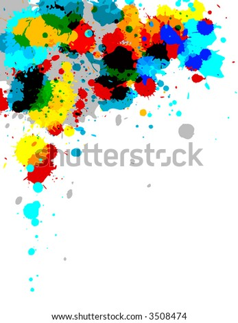 Illustration of multi-colored paint splashes on white background.
