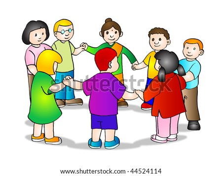 Illustration of multicultural children holding hands, symbolizing world unity and peace