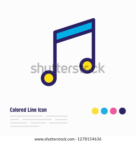 illustration of music note icon colored line. Beautiful joy element also can be used as quaver icon element.