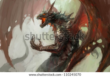 illustration of mythology creature, dragon