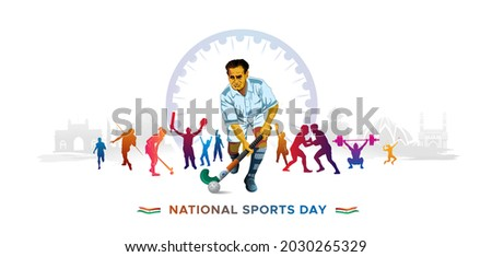 illustration of National Sports day with players Major dhyan chand and Indian tricolor flag background