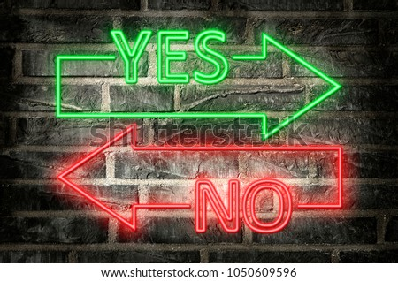 illustration of neon signs on a brick wall of an arrows with yes and no text