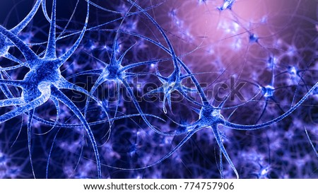 Illustration of neuron cells in abstract dark space, 4K 3D illustration (more colour variations in my profile)