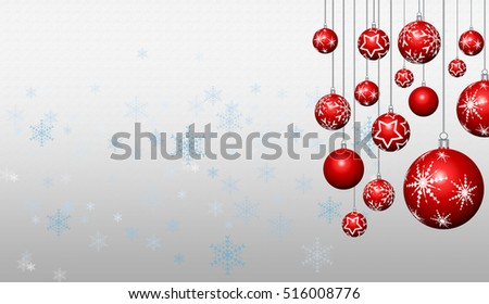 Illustration of new year banner with baubles and snowflakes #516008776