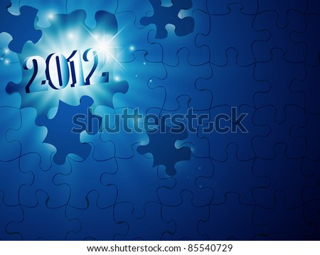 illustration of new year 2012 in the puzzle
