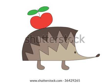 illustration of nice hedgehog with red apple, isolated on white
