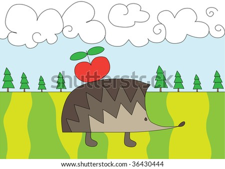 illustration of nice hedgehog with red apple on the glade