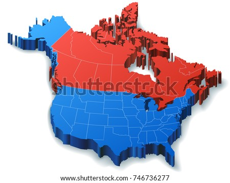 Illustration of North America Map featuring just Canada and the USA.