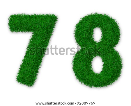 Illustration of numbers 7 and 8 made of grass