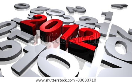 illustration of numbers of new year 2012 of surrounded red color of numbers in gray color