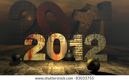 illustration of numbers of new year 2012 with numbers of bottom of 2011