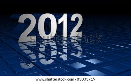 illustration of numbers of new year 2012 with reflections on a blue bottom