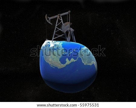 Illustration of oil derrick on the earth