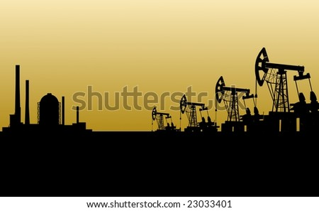 Illustration of oilfield from mining devices