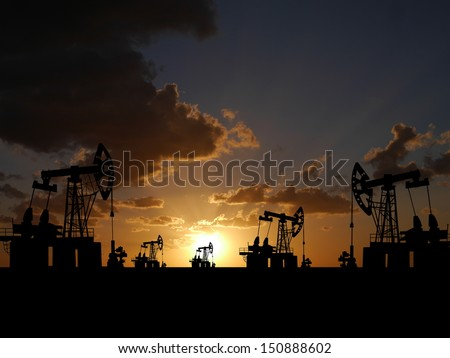 Illustration of oilfield with pump on sunset background